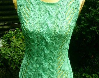 Knitted top in the pattern mix, green, size 36-38 (S-m)