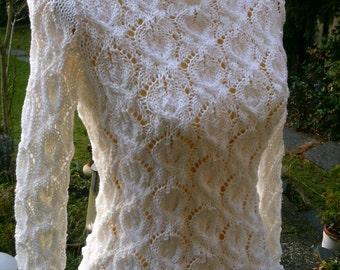 White Undershirts, leaf pattern, size 36-38 (S-m)