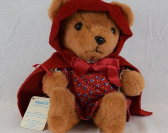 Vintage 14 inch Little Red Riding Hood Plush Bear / Trudy Toys Fairy Tale Bear Collection 1982