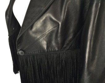 Alaïa Black Leather Fringe Jacket