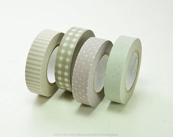 4 pattern - japan Washi masking Tape sample - (50cm x 13mm per style) 倉敷意匠 Made in Japan - 50 cm per pattern - NOT whole roll