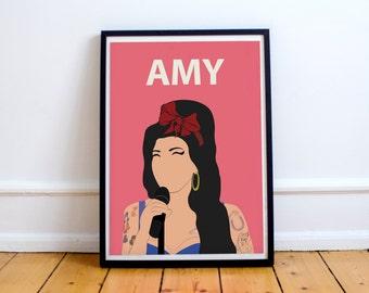 Amy Winehouse Poster Print // Wall Art, Portrait, Retro Art, Colourful, Minimalist, Feminist, Music, Jazz, Soul, Blues, Pink