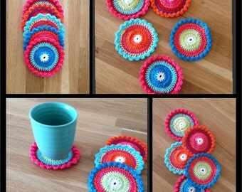 Colorful coasters in oilily colors, set of 5 pieces