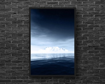 Northern Landscape - Blue Wall Decor - Blue and White - Iceberg - Nature Photography - Vertical - Mountain Wall Art - Winter Wall Decor