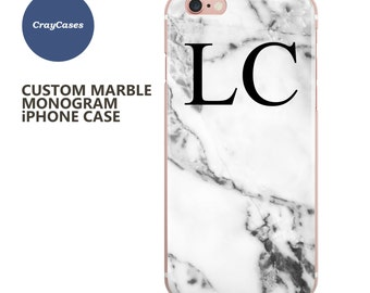 Monogrammed Marble, simple design, personalised iPhone 7 case, personalised iPhone 6 case, custom iPhone case (Shipped From UK)