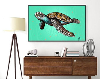 Aloha Honu- Sea Turtle Modern Hawaii Style Original Art- Print, Framed Print, or Canvas Giclee- Turtle swims in the warm Hawaii ocean water
