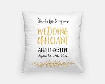 Wedding Officiant gift pillow - customized wedding cushion memento