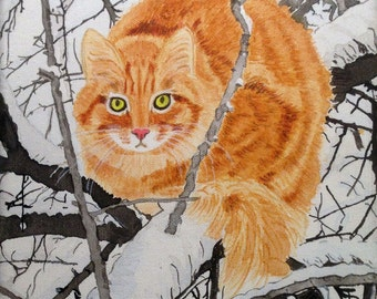 """Cat in snowy tree, Acrylic painting by CYP, Original on canvas 8"""" x 10"""""""