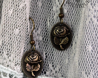 Gothic steampunk bronze drop earrings (Code EBD001)