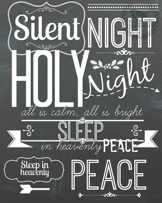 Christmas/Silent Night 8 X 10 and 18 X 24 Instant Download Art