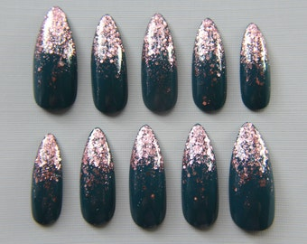 Acrylic press on nails etsy stiletto teal and rose gold nails press on nails fake nails false nails prinsesfo Image collections