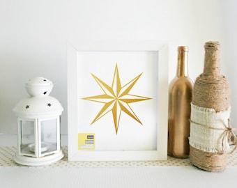 Nautical Star Wall Art, Travel Quote Printable, Travel Quotes, Travel Printable, Gold Printable, Travel Wall Art, Travel Decor, Travel Print