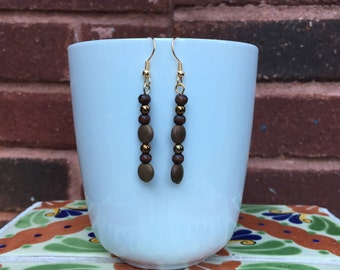 Neutral brown and bronze straight earrings