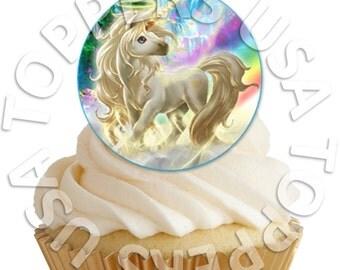 16x EDIBLE Unicorn Cupcake Toppers - Wafer Paper Sheet diy - round circle 4cm (uncut)