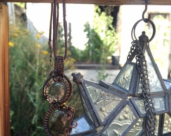 Gemstone Bead Stacked Wire Wrapped Pendant