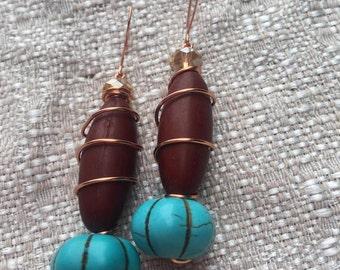 Turquoise Pumpkin Drop Earrings