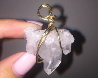 Clear Crystal Quartz Cluster Pendant for Necklace or Pendulum