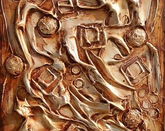Textured Art, Golden Brown Abstract Original Art, Impasto Painting, Palette Knife Art, Wall Art Canvas, Modern Sculpture, Contemporary Art