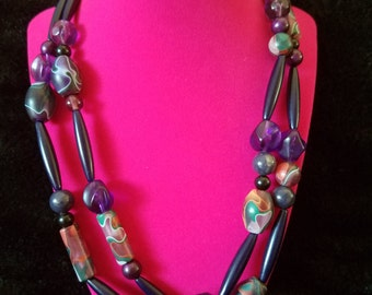 One of a Kind Beaded Vintage Necklace. Retro 1960's - 1970's Unique Hand Painted Bead and Stone Multi-Strand Necklace.
