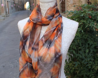Hand painted silk scarf, Silk scarf made in Italy, Silk Scarf hand made by artist. Orange and Black silk scarf, Scarves for women,Silk Cloth