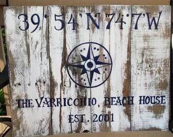 Custom Latitude Longitude Sign, Beach House Sign, Beach Decor, Personalized Gift, Housewarming Gift, Wedding Gift, Nautical Sign, Coordinate
