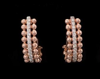 18k Rose Gold 0.33 ct Diamond half hoop Earrings