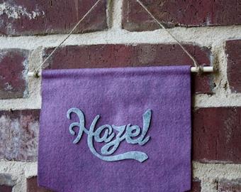 Custom Name Mini Banner- Wool Felt- Baby Name Wall Banner