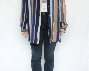 80s Vintage Button Up Brown Beige Black Vertical Stripes  Patterned Blouse for Women