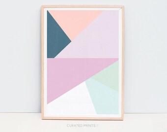 Digital Download Geometric Print, Printable Poster Scandinavian Mid Century Pink Purple Green Navy Modern Art, Scandinavian Decor Geometric
