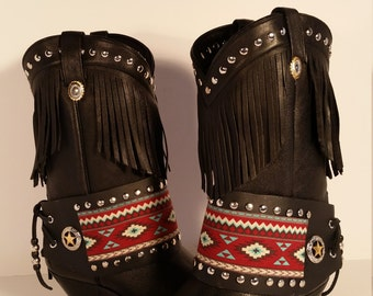 Size 8.5 Med Upcycled Bronc Inspired New Dingo Deertan Fringe Women's Black Boots