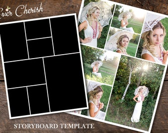 8-Rectangle Photo Digital Collage Storyboard Photographer Template PSD Social Media Blog Facebook Pinterest Photography