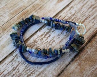 Three Strand Lapis Beaded Bracelet, Lapis Lazuli Bracelet, September Birthstone Bracelet, Silver Bracelet, Birthstone Bracelet, Multistrand