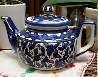 Blue mosaic ceramic Mediterranean tea pot
