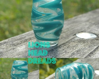 Glass Dread Bead in Teal Wig Wag with Unique Ghosting