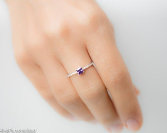 Custom Birthstone Ring - Amethyst Ring - Princess Cut Ring - Silver Birthstone Ring - Birthstone Jewelry - Silver Engagement Ring