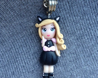 Doll miniature doll pendant cat necklace Catwoman Black cat Halloween cat Teen necklace charm Pendant 3d Halloween necklace Kawaii doll