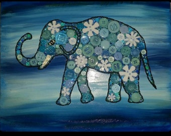 Blue Elephant in Buttons