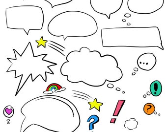 Colored Printable Download Speech Bubbles