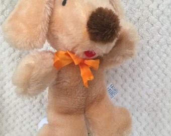 Vintage AVLON INC Puppy Dog Golden Brown Plush Stuffed Animal