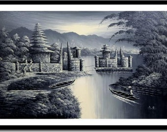A Night of Serenity: Giclee Print on Stretched Canvas of Traditional Balinese Painting; Ready to Hang