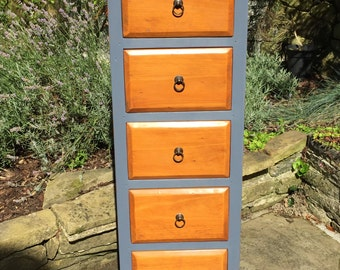 Vintage Hand Painted Solid Wood Tallboy in Autentico Special Edition Pavot Bleu