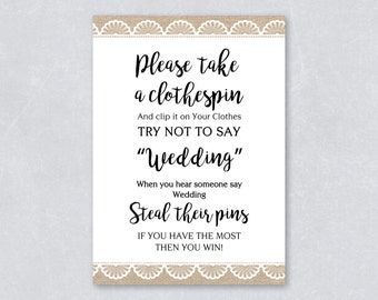 Bridal Shower rustic theme / burlap rustic lace / don't say wedding game / printable games