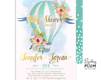 Hot Air Balloon Baby Shower Invitation / Couples Baby Invitation /  Balloon Baby Invite / Coed Baby Shower Invitation / UP Up Away
