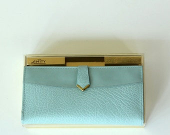 powder blue wallet by Amity, new in box . vintage leather wallet, pigskin pocketbook NIB, never used . 1960s / 1970s wallet