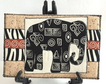 Black  Elephant  Quilted Fabric Postcard, Black and White Elephant,Elephant Mini Quilt, African Elephant Fabric Card, Greeting Card