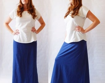 Maxi Skirt womens Long skirt floor length skirt Cotton Jersey Skirt Aline yoga waistband maternity skirt - womens clothing Made to Order