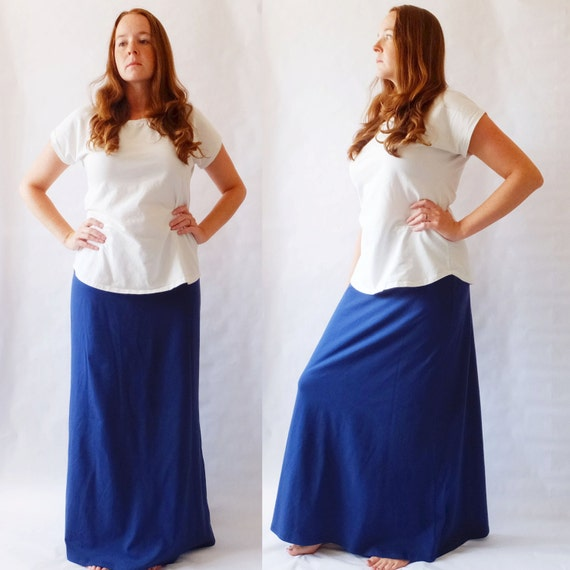 Maxi Skirt womens Long skirt floor length skirt Cotton Jersey Skirt Aline yoga waistband maternity skirt - Made to Order in other colors