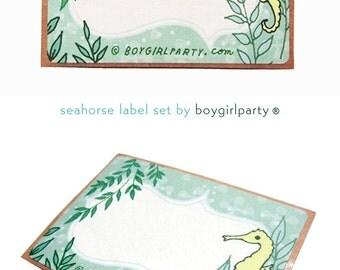 SEAHORSE STICKER labels for bottles, labels for jars, wedding favor labels, handmade gift tags, seahorse gift labels, stickers for planner