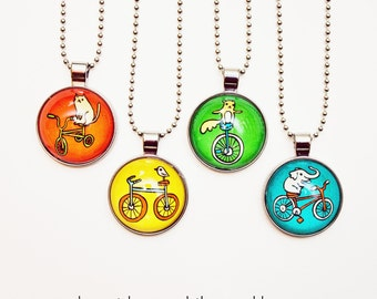 BICYCLE JEWELRY bicycle necklace - bike necklace / unicycle / tricycle - bike jewelry, bicycle pendant, glass necklace, primary colors