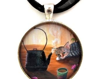 Gray Tabby Cat Pendant Tetsubin Teapot Tea Yunomi Teacup Handmade Jewelry Art Necklace Japanese Asian Kitchen Zen Cat Artwork